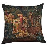 FeiliandaJJ Pillowcase Christmas, kissenhülle Kopfkissenbezug Weihnachten Dekoration Kissenbezug glücklich Weihnachtsmann Muster Super weich Sofakissen für Wohnzimmer Sofa Bed Home,45x45cm (C)