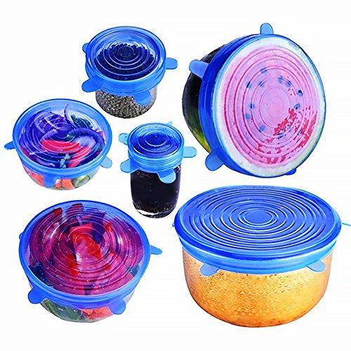 trifycore die Tapas-Silikon elastische Dehnung Spiralkabel verschiedener Größe Lebensmittel Reifen für Gläser Deckel aus Silikon BPA FREI 6Teile