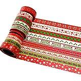 K-LIMIT 10 Set Washi Tape rollos de Washi Tape, cinta decorativa autoadhesivo, cinta de enmascarar, masking tape Scrapbooking DIY Scrapbooking DIY Navidad Christmas idea del regalo Rot 9143
