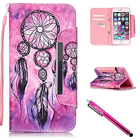 iPhone 5S Case, iPhone 5 Wallet Case, Firefish Kickstand Flip [Card Slots] Wallet Cover Double Layer Bumper Shell with Magnetic Closure Strap Case for Apple iPhone 5/5S/SE-Pinknet