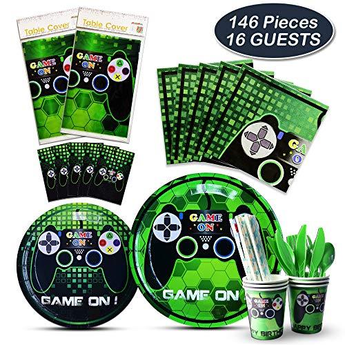 WERNNSAI Spielthema Party Spiel Geschirr Set - Spiel Thema Partyzubehör for Junge Gamer Geeks, Inklusive Bestecktasche Tischabdeckung Teller Tassen Servietten Strohhalme Dient für 16 Gäste - 146 PCS
