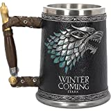 Game of Thrones Krug deluxe 3D Schattenwolf Winter is Coming Wappen Deko 600ml grau