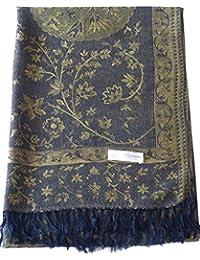 Vert Olive Jammu Design 2 Ply Châle réversible Pashmina Écharpe Wrap Étole CJ  Apparel 9d491f755ec