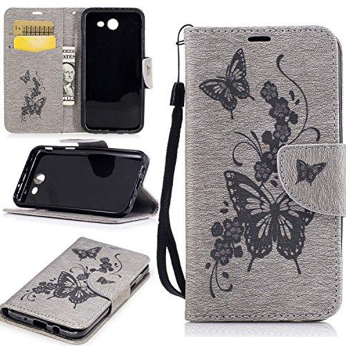 Hülle für iPhone 7 (4.7 zoll), Owbb Schmetterling Blumen Muster Handyhülle PU Ledertasche Flip Cover Wallet Case mit Stand Function Innenschlitzen Design Lila Grau
