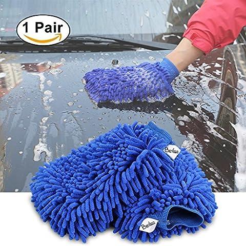 1 paire Mitt de lavage de voiture Chenille Microfibre Nettoyant Mitt Gloves Haute densité Ultra doux Gant de lavage, Lint Free, Scratch gratuit, Utilisé Mouillé ou Sec - Bleu, Taille Régulière