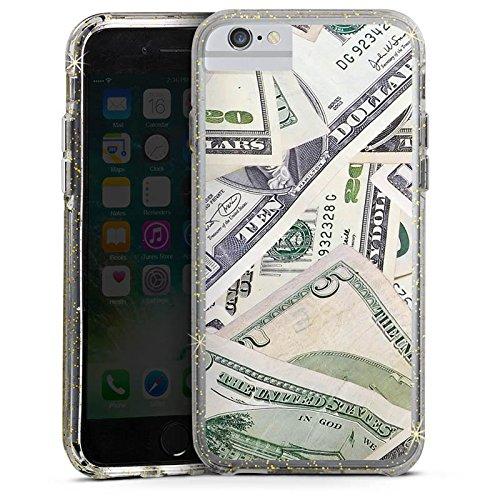 Apple iPhone 6 Bumper Hülle Bumper Case Glitzer Hülle Geld Dollar Scheine Bumper Case Glitzer gold