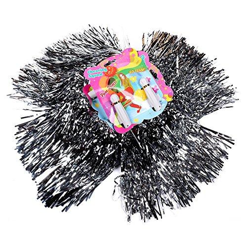 (6x2) Pom Poms Farbe: Silber Pompoms Tanzwedel Cheerleader Puschel Tanzpuschel Cheerleading ()