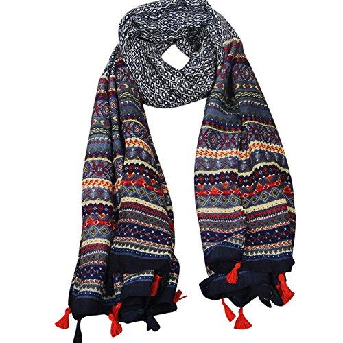 YOUR GALLERY Vintage Elegante Bufanda Pañuelo Jacquard Estampado de Mantón Chal Scarf Shawl Wrap para Mujer Chica,Azul