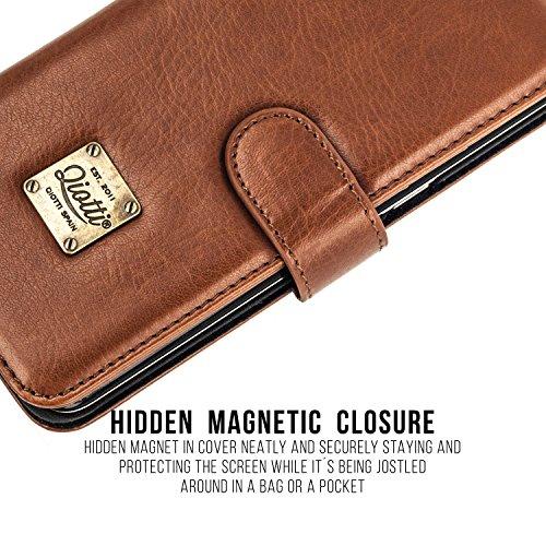 """Apple iPhone 6 / 6S / 7 / 8 (4,7"""") Ledertasche, QIOTTI Folio Leder Wallet Case mit [ RFID Schutz Blocking ] [ Standfunktion ] [ Kreditkarten Fächer ] [ Magnetverschluss ] [ ECO-FAUX Leder ] Flip Cover COGNAC"""