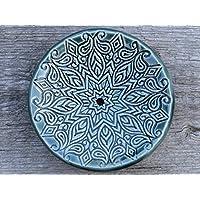 Handmade Keramik Seifenschale rund Grün Bad Dekoration Geschenk Handgemacht