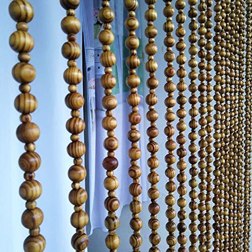 Bambus-panel (GuoWei Perlenvorhang Türvorhang Holz Tür Dekor Panel Raumteiler Hängend Strings Rustikal, Anpassbar (Color : A, Size : 21 strands-60x80cm))
