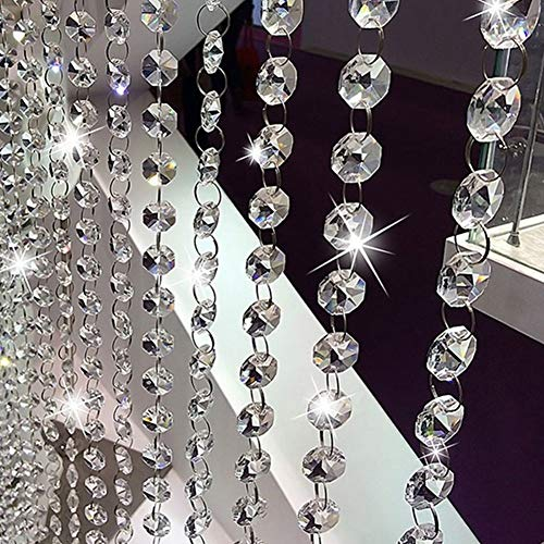 CWeep Silver Beaded Door Curtain Crystal Garland Glass Beads Chain String Curtain Panel for Door Living Room Wedding Decor by (Bead Garland Crystal)