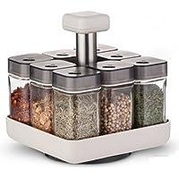 Coninx Carrousel à Épices - Porte-Épices avec 8 Pots à Épices en Verre et Plastique - Range Épices - Multifonctionnel et…