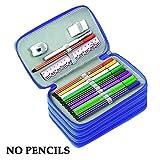 Yimoji, astuccio per matite di grande capacità, 72scomparti, multistrato, per la scuola, per articoli di cancelleria, per matita, gomma, righello, per ragazzi e ragazze, studenti (matite non comprese) Blue