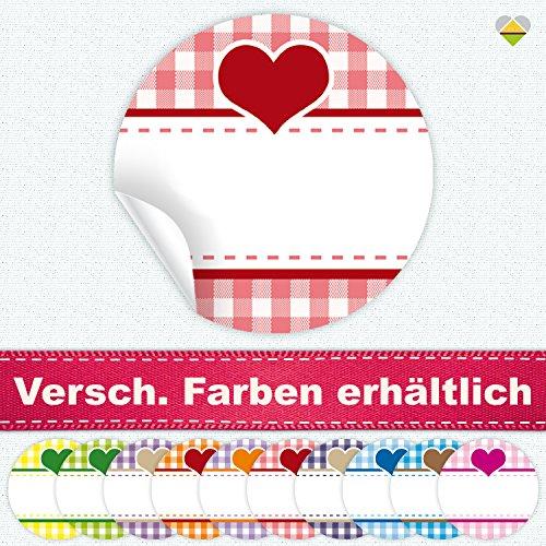 24 Aufkleber / Etiketten / Sticker | Landhausstil Kariert Herz | Rund | Ø 40 mm | Hellrot/Rot | F00038-06 | Ohne Beschriftung! | CuteLove & Head-Beat