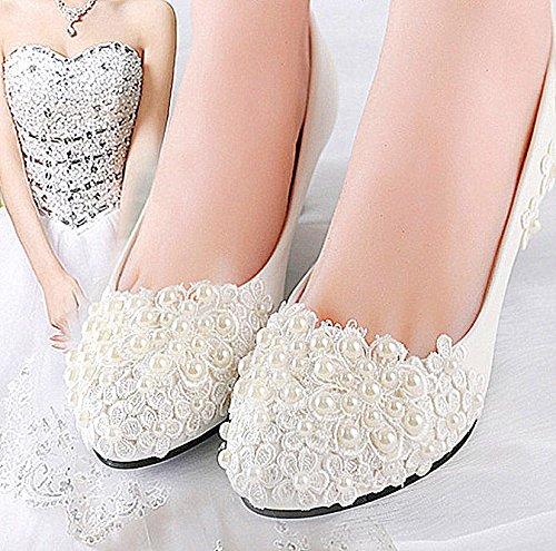 JINGXINSTORE Pizzo Bianco perle nozze tacco basso pompa a cuneo nuziale scarpe 4 cm / 1.5inch heel,light ivory
