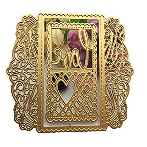 Enipate Love Heart Grid Lace Frame Metal Cutting Dies for Scrapbook Album Invitation Home Decoration Embossing Stencils Cut