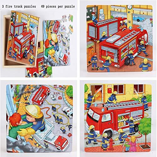 HKANG® Holzpuzzles Spielzeug 147PCS Puzzle aus Holz Pädagogisches Spielzeugspiel Unterschiedlichen Schwierigkeitsgrad Lernspielzeug Werkzeug,Firetruck