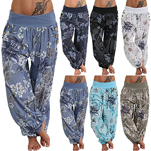 TIFIY Halloween Harem Pants Clearance Women/Ladies/Girls Plus Size Floral Printed Leggings Mid Waist Loose Capris Casual Sports Yoga Fitness Gym Trouser Workout Running With Pockets Autumn Winter 2018