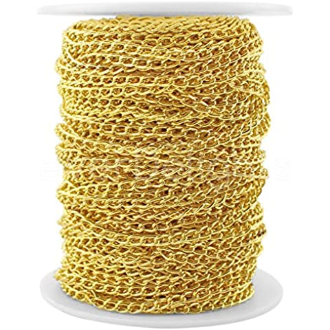 CleverDelights Curb Chain Spool - 3x5mm Link - Gold Color - 100 Feet - Bulk Jewelry Chain Roll by CleverDelights