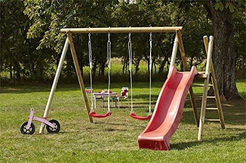 Woodinis-Spielplatz® 18516-5 Doppelschaukel, Schaukelgestell, Schaukelgerüst, Rot