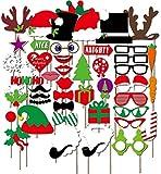 Scatola di foto di decorazioni per Natale - Photo Booth Puntelli e accessori - Per immagini divertenti e memorabili - 50 pezzi