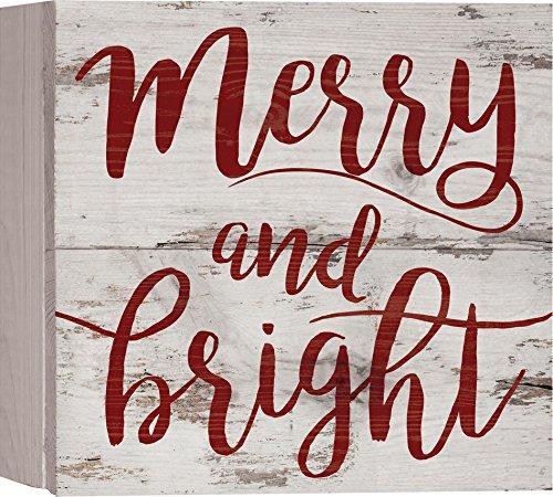 P. Graham Dunn Wandschild mit englischsprachiger Aufschrift Merry & Bright, 17,8 x 17,8 cm