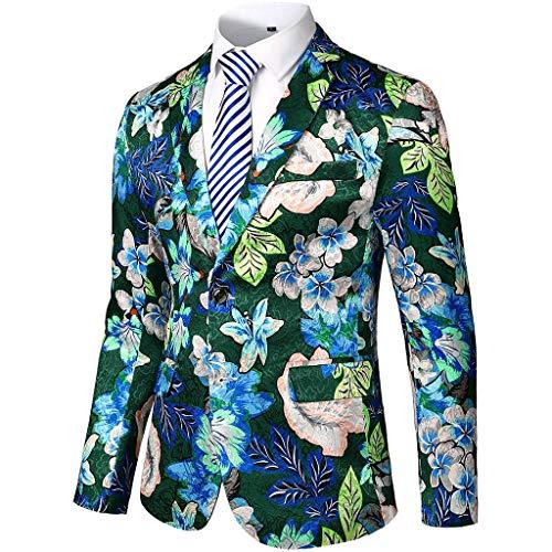 Allegorly Herren Blazer Sakkos Elegante Slim Fit Blumendruck Raglan Ärmel Freizeit Party Business Anzug Jacke Karneval Kostüm Hochzeit Anzug Mantel -
