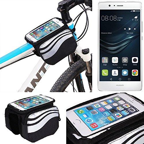 K-S-Trade Rahmentasche für Huawei P9 Lite Dual SIM Rahmenhalterung Fahrradhalterung Fahrrad Handyhalterung Fahrradtasche Handy Smartphone Halterung Bike Mount Wasserabweisend, Silber-schwarz