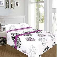 ForenTex - Juegos de sábanas, (MM-4013), Floral Morado, cama 105 cm, con tacto seda de sedalina, nacarina, de 250 gr/m2, ultra suaves, exclusivas.