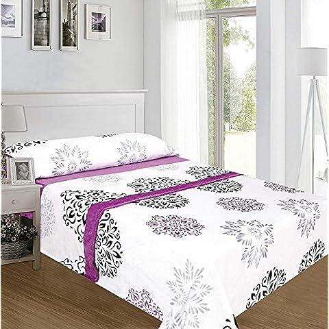 ForenTex - Juegos de sábanas, (MM-4013), Cama 105 cm, floral, con tacto seda de sedalina, Lilas, de 250 g,
