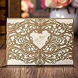 vstoy Gold Laser Schnitt Hochzeit Einladungen tonkartons Kits Floral Hohl Herz Party Einladung Karten mit Umschlag und Meere Braut Dusche Baby Dusche Hochzeit Gastgeschenken 20 Stück (Gold)