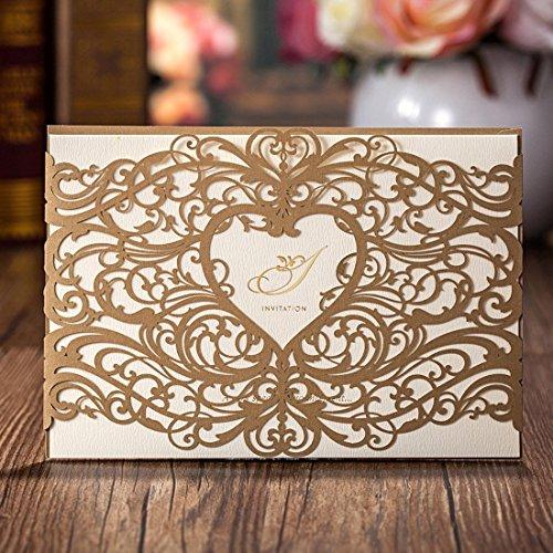 vstoy Gold Laser Schnitt Hochzeit Einladungen tonkartons Kits Floral Hohl Herz Party Einladung Karten mit Umschlag und Meere Braut Dusche Baby Dusche Hochzeit Gastgeschenken 20 Stück (Gold) (Hochzeit Einladung-kit Braut)