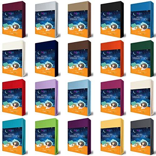 EllaTex KINDER Jersey Spannbettlaken 70 x 140 cm aus 100% Baumwolle für Kinderbett/Babybett, in Farbe: Anthrazit-Grau