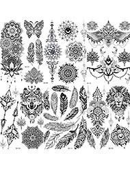 COKTAK 6 Feuilles Noir Autocollants Tatouage Temporaire Adultes Femmes Filles Plume Mandala Fleur Art Corps Bras Grand Tatouages Feuille Dentelle Mariage Tatouages Hibou Temporary Tattoos