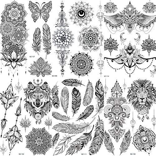 COKTAK 6 BläTter groß Einzigartige Schwarze Henna TemporäRe TäTowierung Aufkleber FüR Erwachsene Frauen Feder Mandala Blume Tattoos Spitze Indischen Mehndi Sexy Hochzeit Tattoos Papier Eule VöGel
