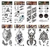 Larga duración y realista Temp tatuaje pegatinas 8pcs Cartoon Y tótem en un paquetes,...