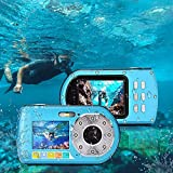 wasserdichte Digitalkamera,UnterwasserKamera Camcorder, Mini Action Sport Tauchkamera klein und tragbar Selbstauslser 24MP Dual Display 2,7 & 2,0 Zoll 16fach Digitalzoom Videorecorder(Blau)
