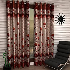 Home Sizzler 2 Piece Eyelet Polyester Window Curtain - 5ft, Maroon