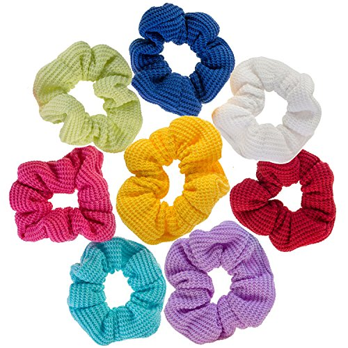 Hair Styling Haarstyling Set Kit of 8Jersey Haargummis Haarbänder Haar Bands Pferdeschwänzen Halterungen Haargummis in verschiedenen Farben (Feder-haar-scheren)