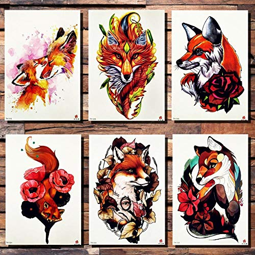 Kid fox tribal rose flower adesivo tatuaggio temporaneo foglie cartoon bambini ragazza flash tatuaggi body art braccio tatuaggio falso