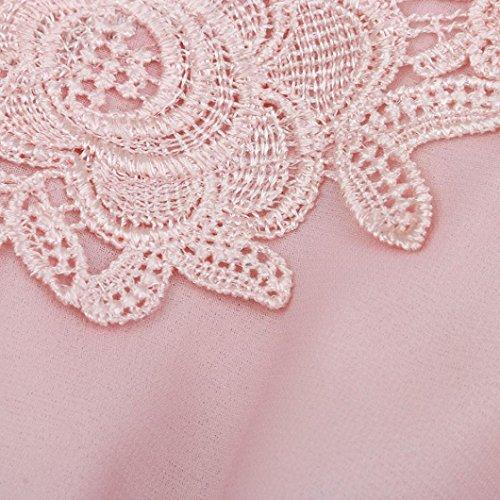 Kleider Damen, Bekleidung Longra Frauen V Ansatz Sommer Kleid Ärmellos Spitze Chiffon Strandkleider Abend-Partei-Kleid Pink