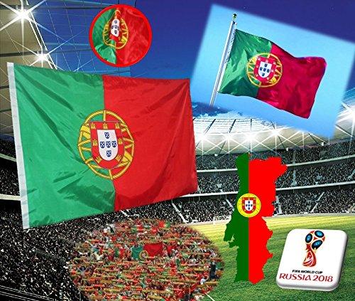 Phonillico Drapeau Portugal 60 x 90 cm Flag Portugais Supporter Coupe du Monde FIFA 2018 Russie Football