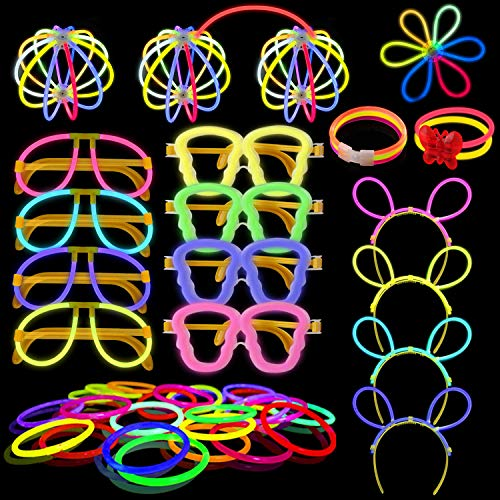 Imagen de yodeace pack de 100 pulseras luminosas fluorescentes barras, varitas luminosas fiesta con 130 conectores para crear pulseras luminosas, gafas luminosas, diadema, flores, bola luminosa