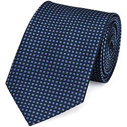 Fabio Farini karierte Krawatte klassisch 8 cm Breite, mit Karomuster in mehreren Farben für Weihnachten, Geburtstag, Hochzeit, Büro (Dunkelblau kariert)