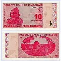 Zimbabwe 10Dólares 2009UNC, mundo inflación, moneda billetes de banco, P94