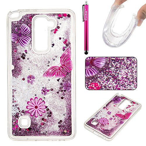 Price comparison product image LG Stylo 2 LS775 Case, Firefish Slim Dynamic Flowing [Anti-Slip] Flexible TPU [Scratch Resistances] Protective Cover for Girls Children Fits for LG Stylo 2 LS775 -Butterfly