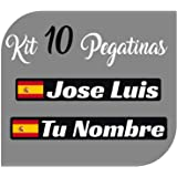 Kit x10 Pegatinas Vinilo Bandera España + tu Nombre - Bici, Casco, Pala De Padel, Monopatin, Coche, Moto, etc. Kit de Diez Vi