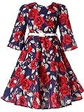 Bonny Billy Mädchen Kleider Vintage Rot Blumen Festlich Herbst Winter Kinder Kleid mit Gürtel 3-4 Jahre/98-104 Rot Blumen (3/4 Ärmel)