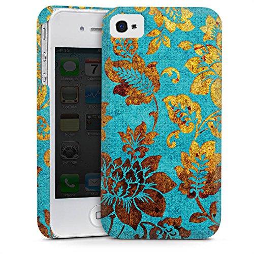 Apple iPhone 5 Housse Outdoor Étui militaire Coque Fleurs Fleurs Or Cas Premium mat